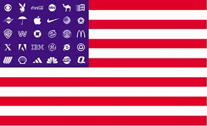 American Flag with Corporate Logos for Stars
